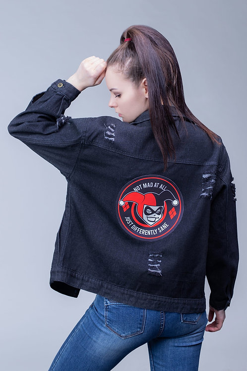 Black denim jean jacket Harley Quinn | DC
