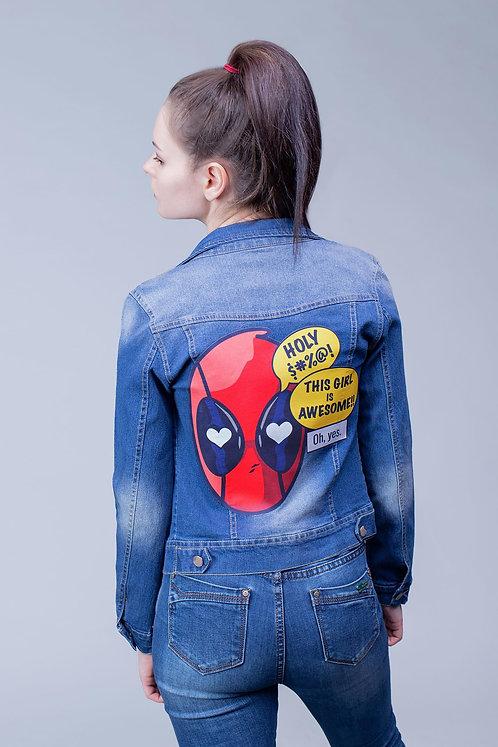 Джинсовая куртка синяя Deadpool | Marvel (Дэдпул, Марвел)