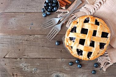 Rustic homemade blueberry pie with latti