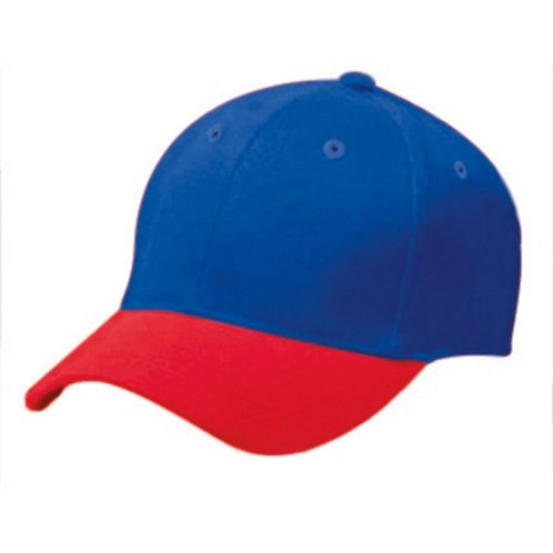 Adult COTTON TWILL SIX PANEL CAP Royal Blue/Scarlet W81