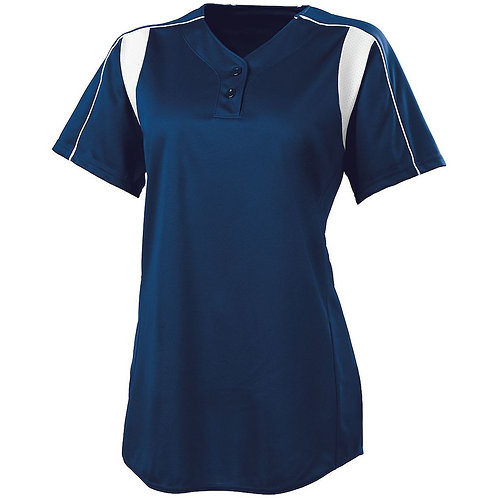 LADIES DOUBLE PLAY SOFTBALL JERSEY NAVY BLUE/WHITE 301