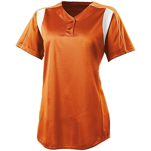 LADIES DOUBLE PLAY SOFTBALL JERSEY ORANGE/WHITE 320