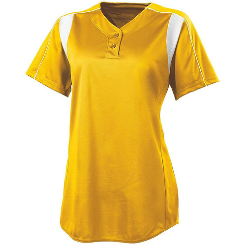 LADIES DOUBLE PLAY SOFTBALL JERSEY ATHLETIC GOLD/WHITE 596