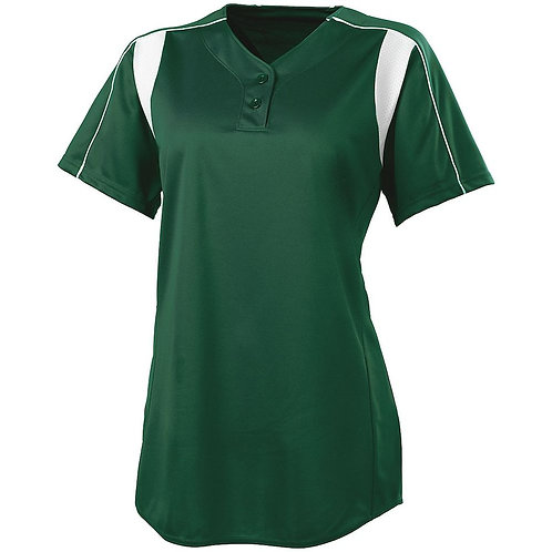 LADIES DOUBLE PLAY SOFTBALL JERSEY FOREST/WHITE 436