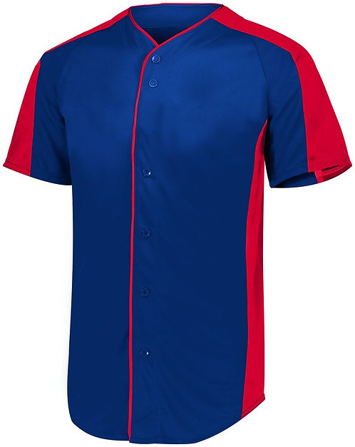 Youth FULL BUTTON BASEBALL JERSEY Navy Blue/Red 307