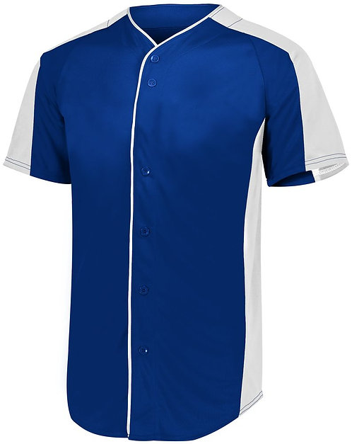 Youth FULL BUTTON BASEBALL JERSEY Navy Blue/White 301