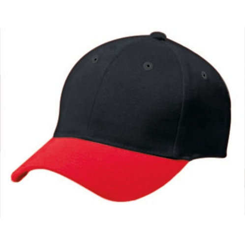 Youth COTTON TWILL SIX PANEL CAP Black/Scarlet 500