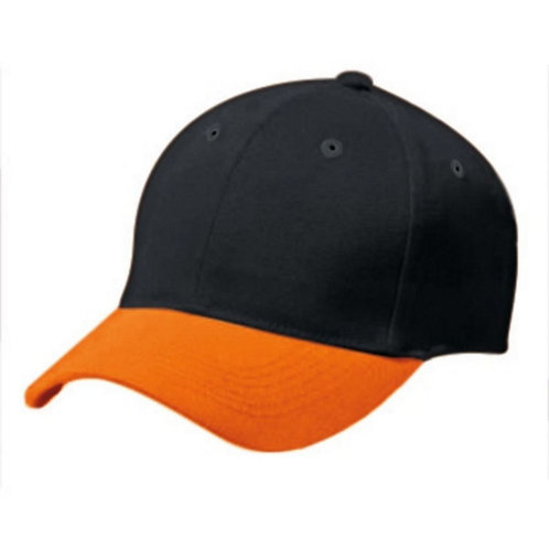 Adult COTTON TWILL SIX PANEL CAP Black/Orange 423
