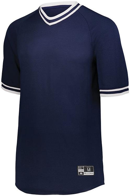 YOUTH RETRO V-NECK BASEBALL JERSEY NAVY BLUE/WHITE 301