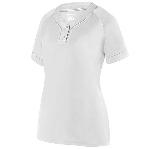 Ladies OVERPOWER Two-Button Jersey White/Silver E64