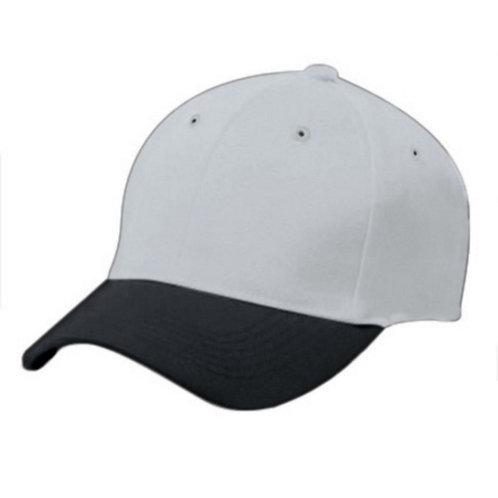 Adult COTTON TWILL SIX PANEL CAP Silver Grey/Black 470