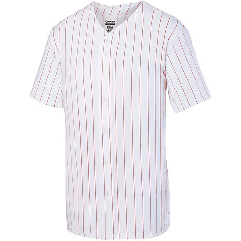 Youth PINSTRIPE FULL BUTTON JERSEY White/Red 225