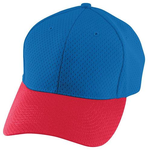Adult ATHLETIC MESH CAP Royal Blue/Red 285
