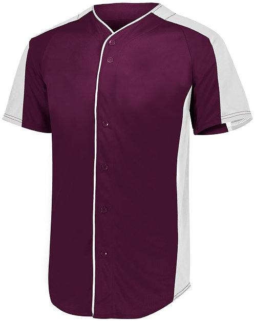 Youth FULL BUTTON BASEBALL JERSEY Maroon/White 380