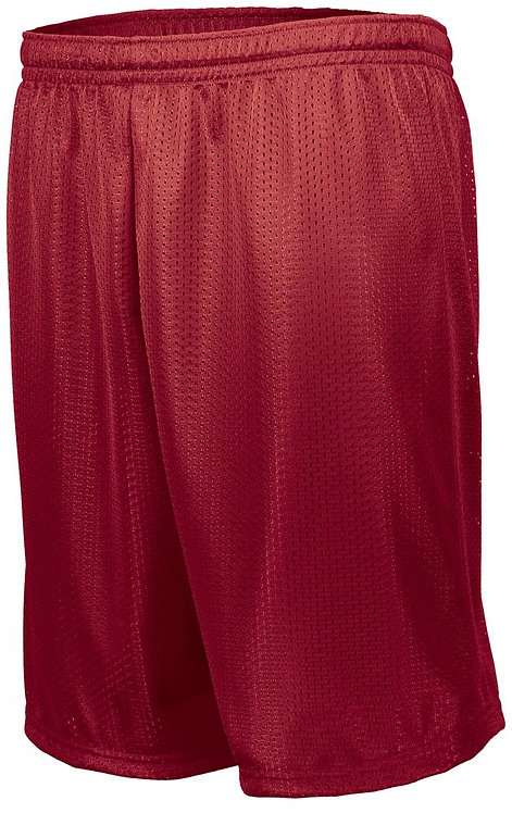 Adult LONGER LENGTH TRICOT MESH SHORTS Red 040