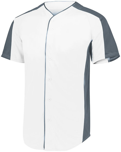 Youth FULL BUTTON BASEBALL JERSEY White/Graphite 751