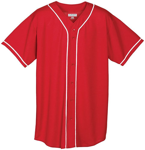 Youth WICKING MESH JERSEY with BRAID TRIM Red/White 400