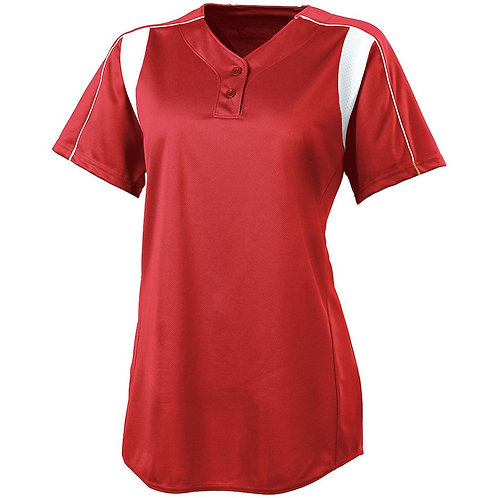 LADIES DOUBLE PLAY SOFTBALL JERSEY SCARLET/WHITE 408