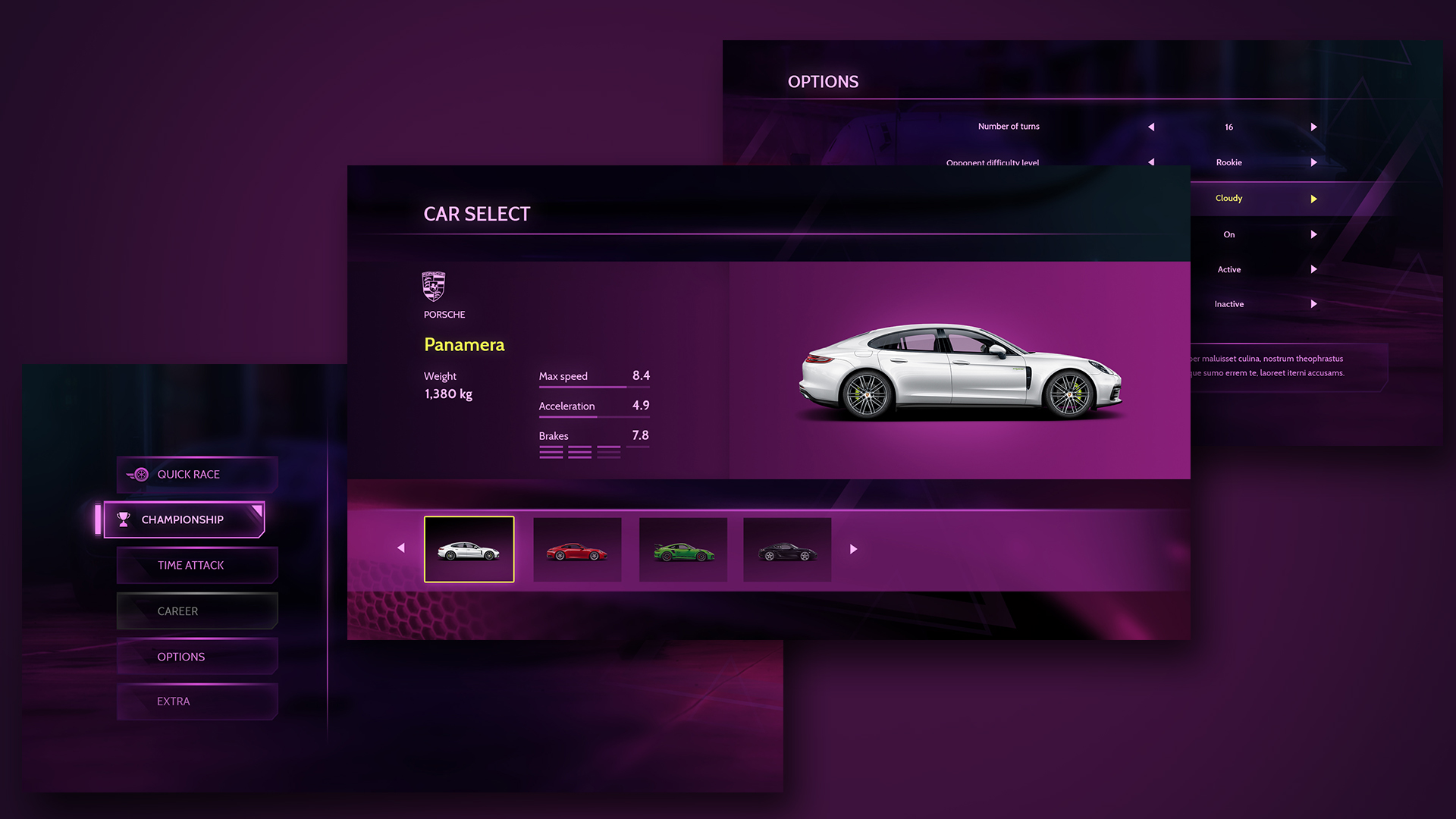 Racing interface concept