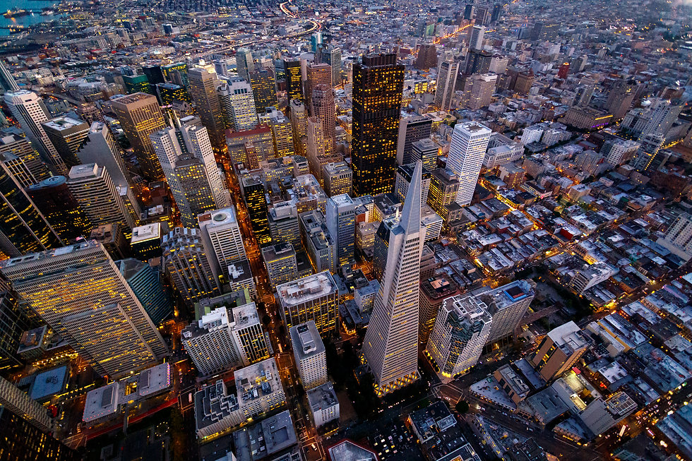 Aerial cityscape view of San Francisco,
