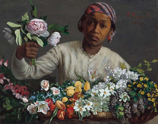 Bazille, Young Woman Peonies Impressioni