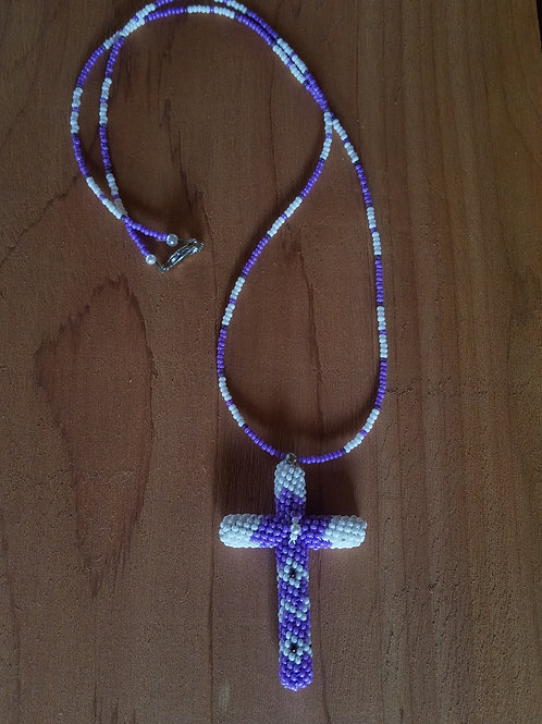 Beaded cross (light purple and white)