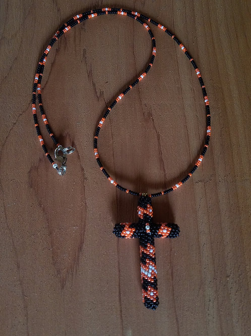 Beaded cross(orange and black)