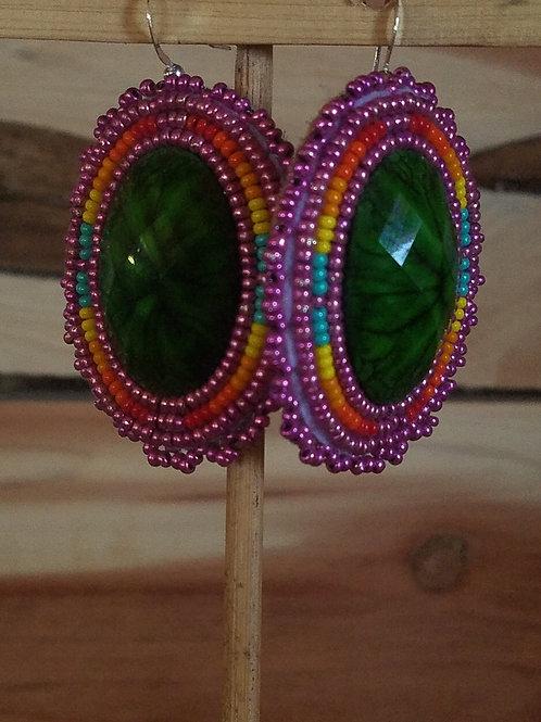 Large metallic pink and green earrings