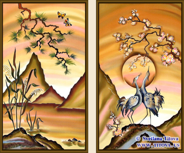 """Silk Painting. Size 28""""h x 16""""w, 28""""h x 16""""w"""