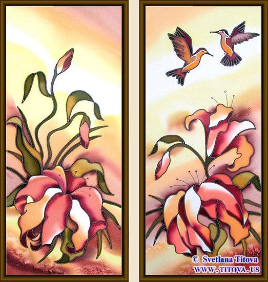 "Lillies. Silk Painting. Size 18""h x 8""w, 18""h x 8""w"