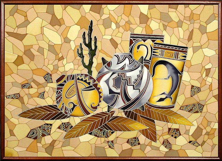 "Mosaic. Silk Painting. Size 18"" h x 24"" w"