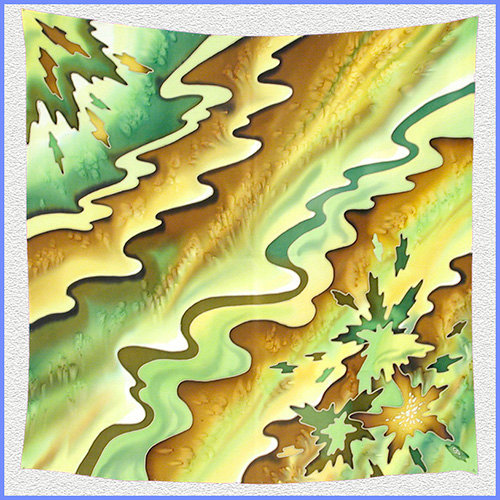 Hand painted silk shawl (SH028)