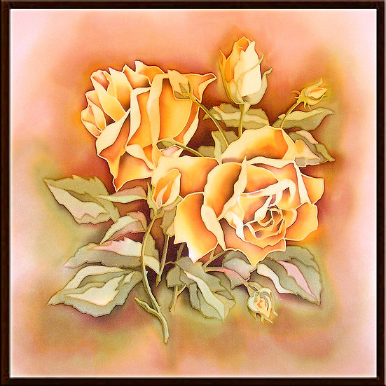 """Roses. Silk Painting. Size 18""""h x 18""""w"""