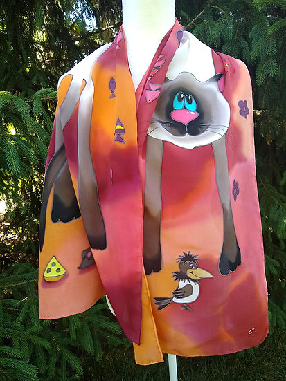 """Hand Painted Silk Scarf """"Cats"""" (S-0011)"""