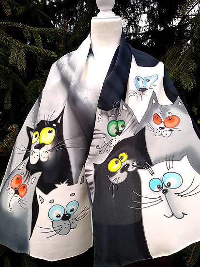 "Hand Painted Silk Scarf ""Cats"" (S-0013)"