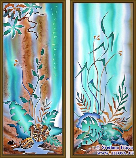 "Tropics. Silk Painting. Size 30""h x 12""w, 30""h x 12""w"