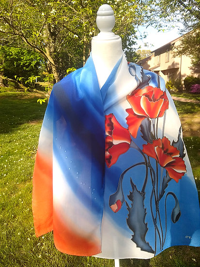 Hand Painted Silk Scarf (S-0026)