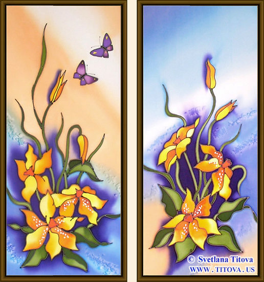 """Narcisses. Silk Painting. Size 18""""h x 8""""w, 18""""h x 8""""w"""