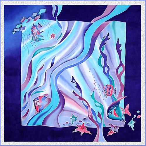 Hand painted silk shawl (SH020)