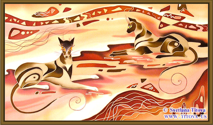 "Cats. Silk Painting. Size 12""h x 20""w"