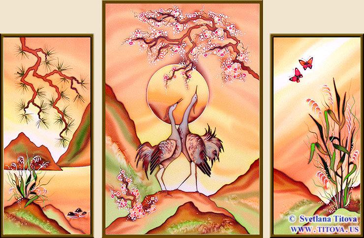"""Silk Painting. Size 22""""h x 10""""w, 24""""h x 16""""w, 22""""h x 10""""w"""