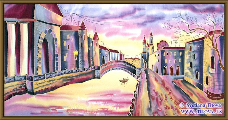 "Venice. Silk Painting. Size 16""h x 32""w"