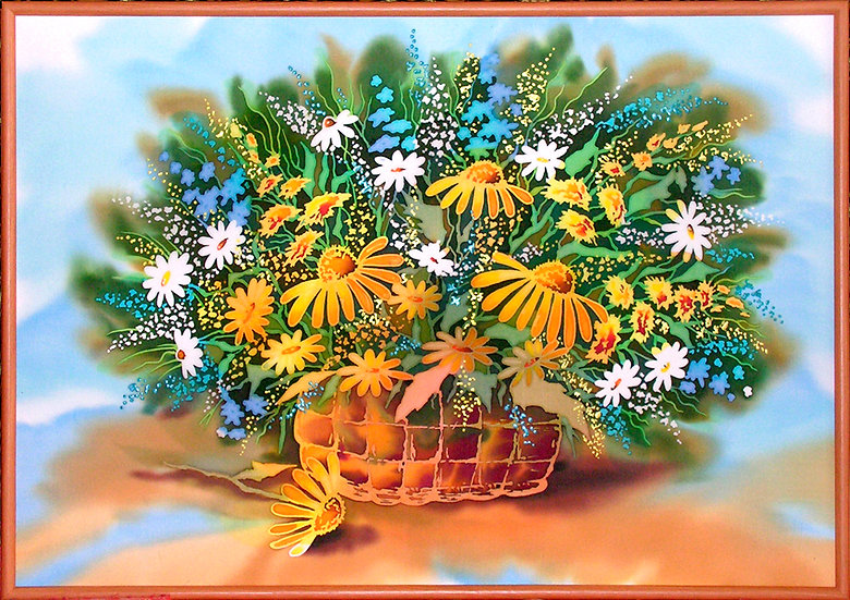 "Basket of Flowers. Silk Painting. Size 18""h x 26""w"
