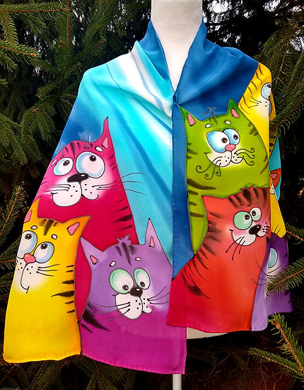 "Hand Painted Silk Scarf ""Cats"""
