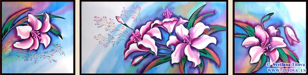 """Lillies. Silk Painting. Size 16""""h x 16""""w, 16""""h x 32""""w, 16""""h x 16""""w"""