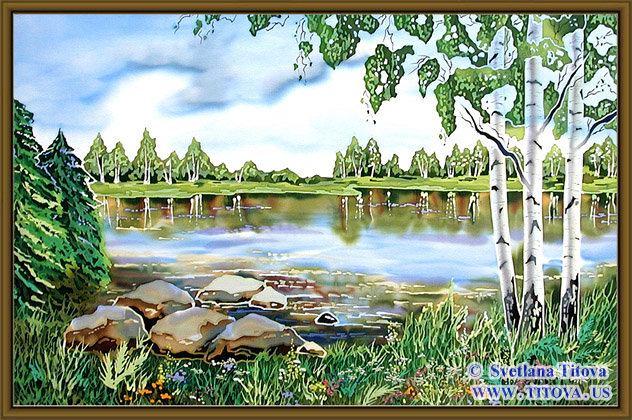 "By the Lake. Silk Painting. Size  18""h x 30""w"