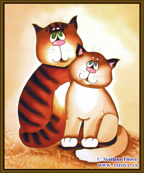 """Cats. Silk Painting. Size 20""""h x 12""""w"""