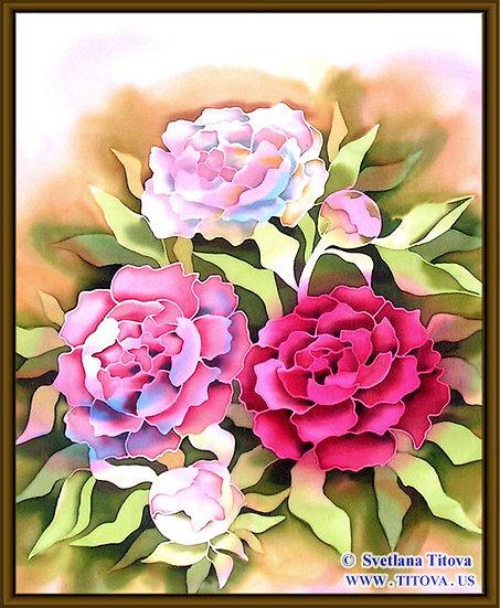 "Peonies. Silk Painting. Size 22"" h x 18"" w"