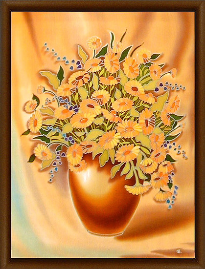 "Flowers. Silk Painting. Size 22""h x 18""w"