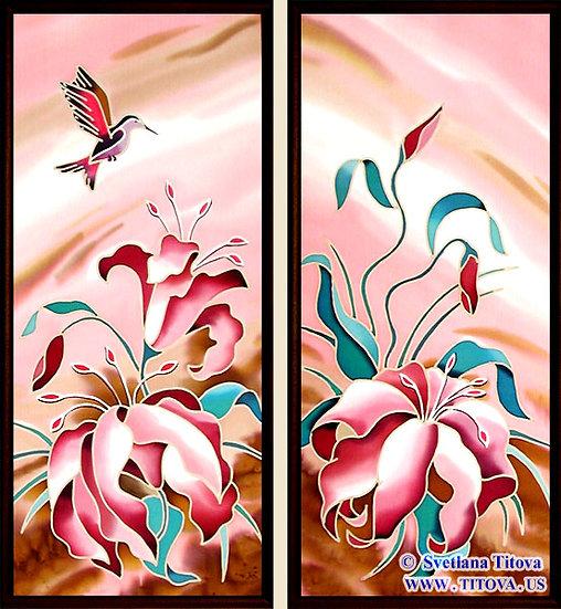 "Lillies. Silk Painting. Size 18""h x 8""w, 18""h x 8"""